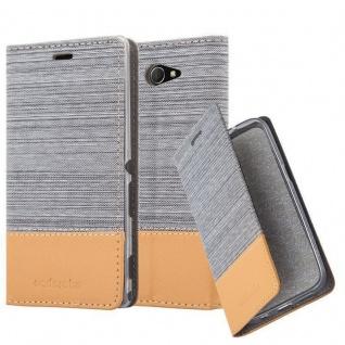 Cadorabo Hülle für Sony Xperia M2 AQUA in HELL GRAU BRAUN - Handyhülle mit Magnetverschluss, Standfunktion und Kartenfach - Case Cover Schutzhülle Etui Tasche Book Klapp Style