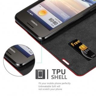 Cadorabo Hülle für Huawei Y330 in APFEL ROT Handyhülle mit Magnetverschluss, Standfunktion und Kartenfach Case Cover Schutzhülle Etui Tasche Book Klapp Style - Vorschau 5