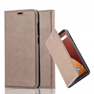 Cadorabo Hülle für WIKO VIEW PRIME in KAFFEE BRAUN Handyhülle mit Magnetverschluss, Standfunktion und Kartenfach Case Cover Schutzhülle Etui Tasche Book Klapp Style