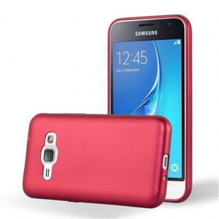 Cadorabo Hülle für Samsung Galaxy J1 2015 in METALLIC ROT - Handyhülle aus flexiblem TPU Silikon - Silikonhülle Schutzhülle Ultra Slim Soft Back Cover Case Bumper