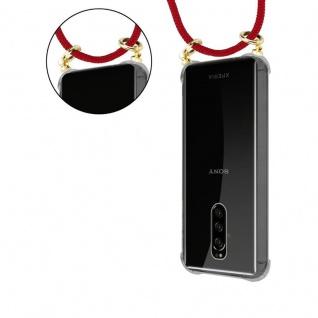 Cadorabo Handy Kette für Sony Xperia 1 in RUBIN ROT - Silikon Necklace Umhänge Hülle mit Gold Ringen, Kordel Band Schnur und abnehmbarem Etui ? Schutzhülle - Vorschau 5