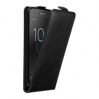 Cadorabo Hülle für Sony Xperia L1 in NACHT SCHWARZ - Handyhülle im Flip Design mit unsichtbarem Magnetverschluss - Case Cover Schutzhülle Etui Tasche Book Klapp Style