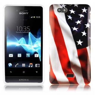 Cadorabo - Hard Cover für Sony Xperia M - Case Cover Schutzhülle Bumper im Design: STARS AND STRIPES
