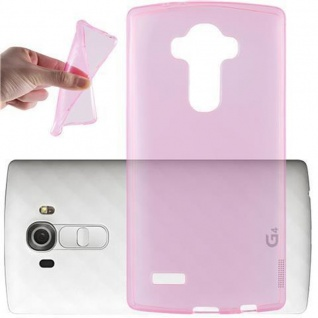 Cadorabo Hülle für LG G4 PRO in TRANSPARENT PINK - Handyhülle aus flexiblem TPU Silikon - Silikonhülle Schutzhülle Ultra Slim Soft Back Cover Case Bumper