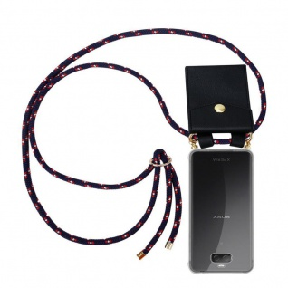Cadorabo Handy Kette für Sony Xperia 10 in BLAU ROT WEISS GEPUNKTET - Silikon Necklace Umhänge Hülle mit Gold Ringen, Kordel Band Schnur und abnehmbarem Etui ? Schutzhülle