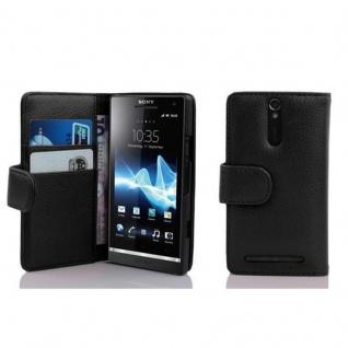 Cadorabo Hülle für Sony Xperia S in OXID SCHWARZ - Handyhülle aus strukturiertem Kunstleder mit Standfunktion und Kartenfach - Case Cover Schutzhülle Etui Tasche Book Klapp Style