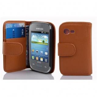 Cadorabo Hülle für Samsung Galaxy POCKET NEO in COGNAC BRAUN - Handyhülle aus strukturiertem Kunstleder mit Standfunktion und Kartenfach - Case Cover Schutzhülle Etui Tasche Book Klapp Style
