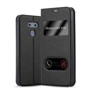Cadorabo Hülle für LG G6 in KOMETEN SCHWARZ Handyhülle mit Magnetverschluss, Standfunktion und 2 Sichtfenstern Case Cover Schutzhülle Etui Tasche Book Klapp Style