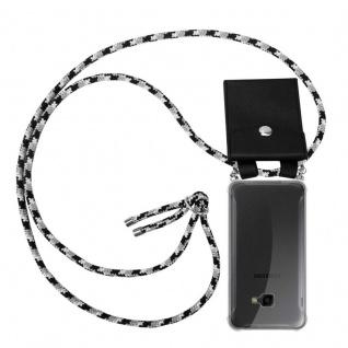 Cadorabo Handy Kette für Samsung Galaxy XCover 4 in SCHWARZ CAMOUFLAGE - Silikon Necklace Umhänge Hülle mit Silber Ringen, Kordel Band Schnur und abnehmbarem Etui - Schutzhülle
