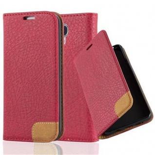 Cadorabo Hülle für Samsung Galaxy S4 - Hülle in ABEND ROT ? Handyhülle mit Standfunktion, Kartenfach und Textil-Patch - Case Cover Schutzhülle Etui Tasche Book Klapp Style