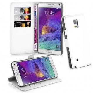 Cadorabo Hülle für Samsung Galaxy NOTE 4 in ARKTIS WEIß - Handyhülle mit Magnetverschluss, Standfunktion und Kartenfach - Case Cover Schutzhülle Etui Tasche Book Klapp Style
