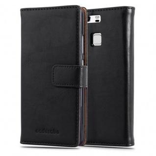 Cadorabo Hülle für Huawei P9 in GRAPHIT SCHWARZ ? Handyhülle mit Magnetverschluss, Standfunktion und Kartenfach ? Case Cover Schutzhülle Etui Tasche Book Klapp Style
