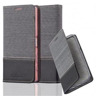 Cadorabo Hülle für Sony Xperia Z5 COMPACT in GRAU SCHWARZ - Handyhülle mit Magnetverschluss, Standfunktion und Kartenfach - Case Cover Schutzhülle Etui Tasche Book Klapp Style