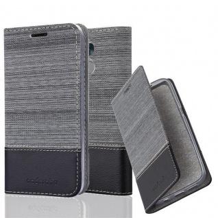 Cadorabo Hülle für Honor 6C in GRAU SCHWARZ - Handyhülle mit Magnetverschluss, Standfunktion und Kartenfach - Case Cover Schutzhülle Etui Tasche Book Klapp Style
