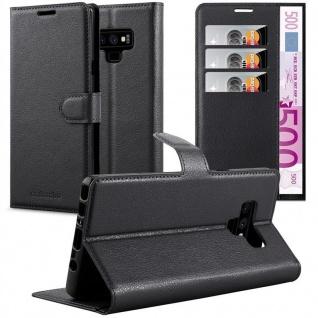 Cadorabo Hülle für Samsung Galaxy NOTE 9 in PHANTOM SCHWARZ - Handyhülle mit Magnetverschluss, Standfunktion und Kartenfach - Case Cover Schutzhülle Etui Tasche Book Klapp Style