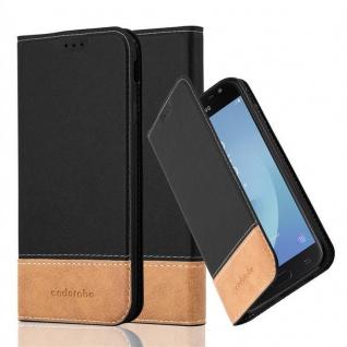 Cadorabo Hülle für Samsung Galaxy J3 2017 in SCHWARZ BRAUN ? Handyhülle mit Magnetverschluss, Standfunktion und Kartenfach ? Case Cover Schutzhülle Etui Tasche Book Klapp Style