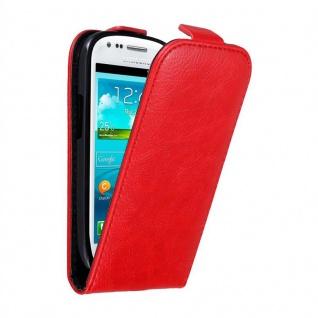 Cadorabo Hülle für Samsung Galaxy S3 MINI in APFEL ROT - Handyhülle im Flip Design mit unsichtbarem Magnetverschluss - Case Cover Schutzhülle Etui Tasche Book Klapp Style