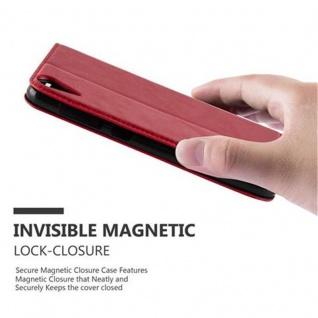 Cadorabo Hülle für HTC Desire 10 LIFESTYLE / Desire 825 in APFEL ROT - Handyhülle mit Magnetverschluss, Standfunktion und Kartenfach - Case Cover Schutzhülle Etui Tasche Book Klapp Style - Vorschau 4