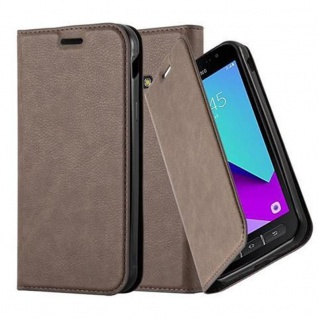 Cadorabo Hülle für Samsung Galaxy XCover 4 in KAFFEE BRAUN - Handyhülle mit Magnetverschluss, Standfunktion und Kartenfach - Case Cover Schutzhülle Etui Tasche Book Klapp Style