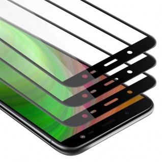 Cadorabo 3x Vollbild Panzer Folie für Samsung Galaxy J8 2018 - Schutzfolie in TRANSPARENT mit SCHWARZ - 3er Pack Gehärtetes (Tempered) Display-Schutzglas in 9H Härte mit 3D Touch