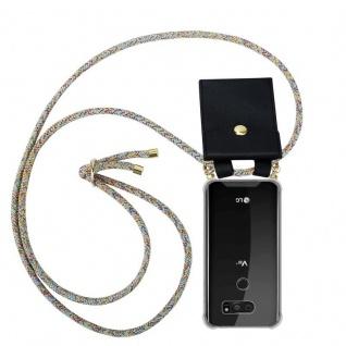 Cadorabo Handy Kette für LG V30 in RAINBOW - Silikon Necklace Umhänge Hülle mit Gold Ringen, Kordel Band Schnur und abnehmbarem Etui ? Schutzhülle