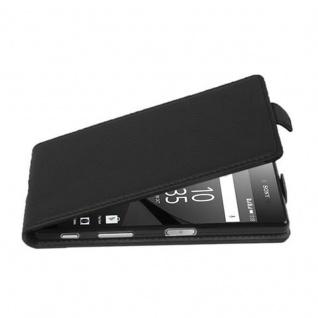 Cadorabo Hülle für Sony Xperia Z5 COMPACT in OXID SCHWARZ - Handyhülle im Flip Design aus strukturiertem Kunstleder - Case Cover Schutzhülle Etui Tasche Book Klapp Style