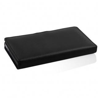 Cadorabo Hülle für Sony Xperia Z (1. Gen.) in KAVIAR SCHWARZ - Handyhülle aus glattem Kunstleder mit Standfunktion und Kartenfach - Case Cover Schutzhülle Etui Tasche Book Klapp Style - Vorschau 3