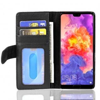 Cadorabo Hülle für Huawei P20 in OXID SCHWARZ ? Handyhülle mit Magnetverschluss und 3 Kartenfächern ? Case Cover Schutzhülle Etui Tasche Book Klapp Style