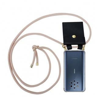 Cadorabo Handy Kette für Nokia 10 in PERLIG ROSÉGOLD Silikon Necklace Umhänge Hülle mit Gold Ringen, Kordel Band Schnur und abnehmbarem Etui Schutzhülle