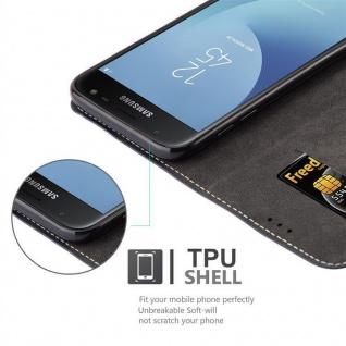 Cadorabo Hülle für Samsung Galaxy J3 2017 in BLAU BRAUN - Handyhülle mit Magnetverschluss, Standfunktion und Kartenfach - Case Cover Schutzhülle Etui Tasche Book Klapp Style - Vorschau 3