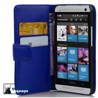 Cadorabo Hülle für HTC ONE M4 MINI in BRILLANT BLAU - Handyhülle aus glattem Kunstleder mit Standfunktion und Kartenfach - Case Cover Schutzhülle Etui Tasche Book Klapp Style