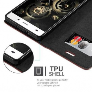 Cadorabo Hülle für Huawei P8 LITE 2015 in CAPPUCCINO BRAUN - Handyhülle mit Magnetverschluss, Standfunktion und Kartenfach - Case Cover Schutzhülle Etui Tasche Book Klapp Style - Vorschau 3