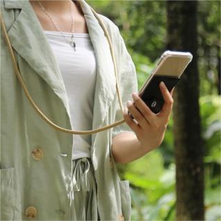 Cadorabo Handy Kette für Huawei MATE 20 in GLÄNZEND BRAUN - Silikon Necklace Umhänge Hülle mit Silber Ringen, Kordel Band Schnur und abnehmbarem Etui - Schutzhülle - Vorschau 3