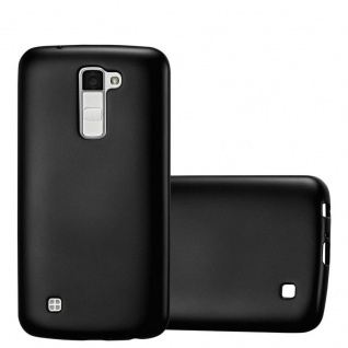 Cadorabo Hülle für LG K10 2016 in METALLIC SCHWARZ - Handyhülle aus flexiblem TPU Silikon - Silikonhülle Schutzhülle Ultra Slim Soft Back Cover Case Bumper