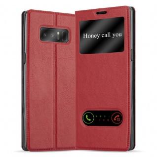Cadorabo Hülle für Samsung Galaxy NOTE 8 in SAFRAN ROT Handyhülle mit Magnetverschluss, Standfunktion und 2 Sichtfenstern Case Cover Schutzhülle Etui Tasche Book Klapp Style