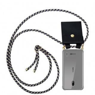 Cadorabo Handy Kette für Nokia 2.2 in DUNKELBLAU GELB Silikon Necklace Umhänge Hülle mit Gold Ringen, Kordel Band Schnur und abnehmbarem Etui Schutzhülle