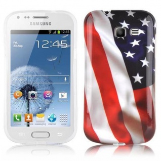 Cadorabo - Hard Cover für Samsung Galaxy TREND LITE - Case Cover Schutzhülle Bumper im Design: STARS AND STRIPES