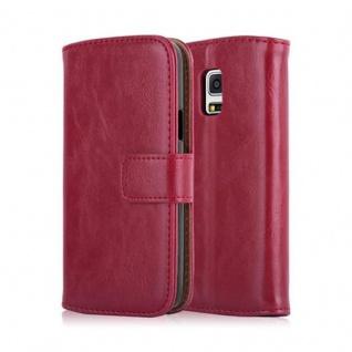 Cadorabo Hülle für Samsung Galaxy S5 MINI / S5 MINI DUOS in WEIN ROT ? Handyhülle mit Magnetverschluss, Standfunktion und Kartenfach ? Case Cover Schutzhülle Etui Tasche Book Klapp Style - Vorschau 2