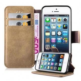 Cadorabo Hülle für Apple iPhone 5 / iPhone 5S / iPhone SE - Hülle in MATT SAND BRAUN - Handyhülle mit Standfunktion und Kartenfach im Retro Design - Case Cover Schutzhülle Etui Tasche Book Klapp Style