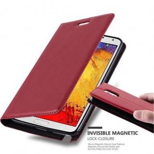 Cadorabo Hülle für Samsung Galaxy NOTE 3 in APFEL ROT - Handyhülle mit Magnetverschluss, Standfunktion und Kartenfach - Case Cover Schutzhülle Etui Tasche Book Klapp Style
