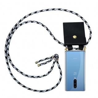 Cadorabo Handy Kette für Oneplus 8 in SCHWARZ CAMOUFLAGE Silikon Necklace Umhänge Hülle mit Gold Ringen, Kordel Band Schnur und abnehmbarem Etui Schutzhülle