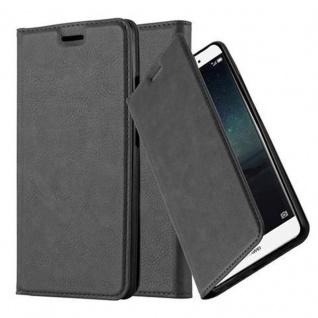 Cadorabo Hülle für Huawei MATE S in NACHT SCHWARZ Handyhülle mit Magnetverschluss, Standfunktion und Kartenfach Case Cover Schutzhülle Etui Tasche Book Klapp Style