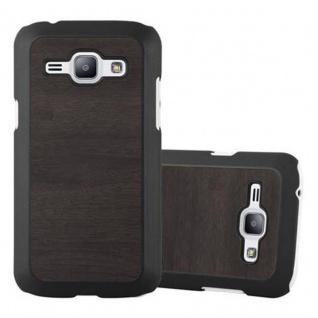 Cadorabo Hülle für Samsung Galaxy J1 2015 in WOODY SCHWARZ - Hardcase Handyhülle aus Plastik gegen Kratzer und Stöße - Schutzhülle Bumper Ultra Slim Back Case Hard Cover