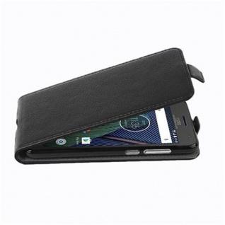Cadorabo Hülle für Motorola MOTO G5 PLUS in OXID SCHWARZ - Handyhülle im Flip Design aus strukturiertem Kunstleder - Case Cover Schutzhülle Etui Tasche Book Klapp Style