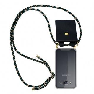 Cadorabo Handy Kette für Samsung Galaxy J5 2015 in CAMOUFLAGE ? Silikon Necklace Umhänge Hülle mit Gold Ringen, Kordel Band Schnur und abnehmbarem Etui ? Schutzhülle