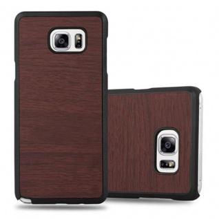 Cadorabo Hülle für Samsung Galaxy NOTE 5 in WOODY KAFFEE ? Hardcase Handyhülle aus Plastik gegen Kratzer und Stöße ? Schutzhülle Bumper Ultra Slim Back Case Hard Cover