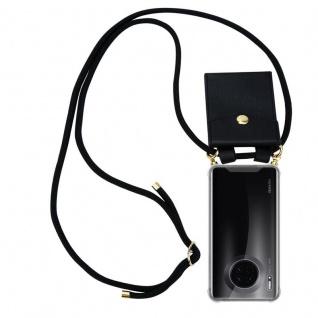 Cadorabo Handy Kette für Huawei MATE 30 in SCHWARZ Silikon Necklace Umhänge Hülle mit Gold Ringen, Kordel Band Schnur und abnehmbarem Etui Schutzhülle