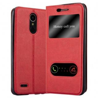 Cadorabo Hülle für LG K10 2017 in SAFRAN ROT - Handyhülle mit Magnetverschluss, Standfunktion und 2 Sichtfenstern - Case Cover Schutzhülle Etui Tasche Book Klapp Style