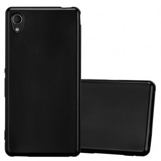 Cadorabo Hülle für Sony Xperia M4 Aqua in METALLIC SCHWARZ - Handyhülle aus flexiblem TPU Silikon - Silikonhülle Schutzhülle Ultra Slim Soft Back Cover Case Bumper