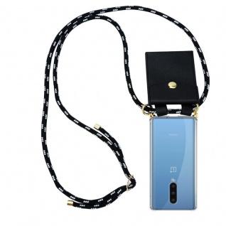 Cadorabo Handy Kette für Oneplus 8 in SCHWARZ SILBER Silikon Necklace Umhänge Hülle mit Gold Ringen, Kordel Band Schnur und abnehmbarem Etui Schutzhülle